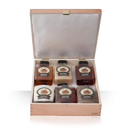 Dárkové balené - Pivní kosmetiky (dřevěná sada)